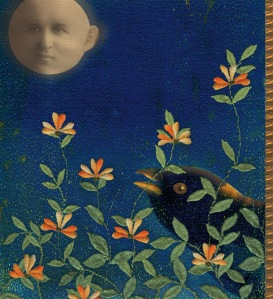 """Night Garden"", a mixed media digital collage by Susan Sanford."